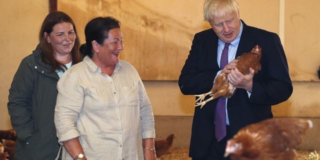 Britain's Prime Minister Boris Johnson, right, accompanied by local farmers Ingrid Shervington, second left and her daughter Victoria Shervington-Jones, inspects the chickens during his visit to rally support for his farming plans post-Brexit, at Shervington Farm, in St Brides Wentlooge near Newport, south Wales, Tuesday, July 30, 2019.