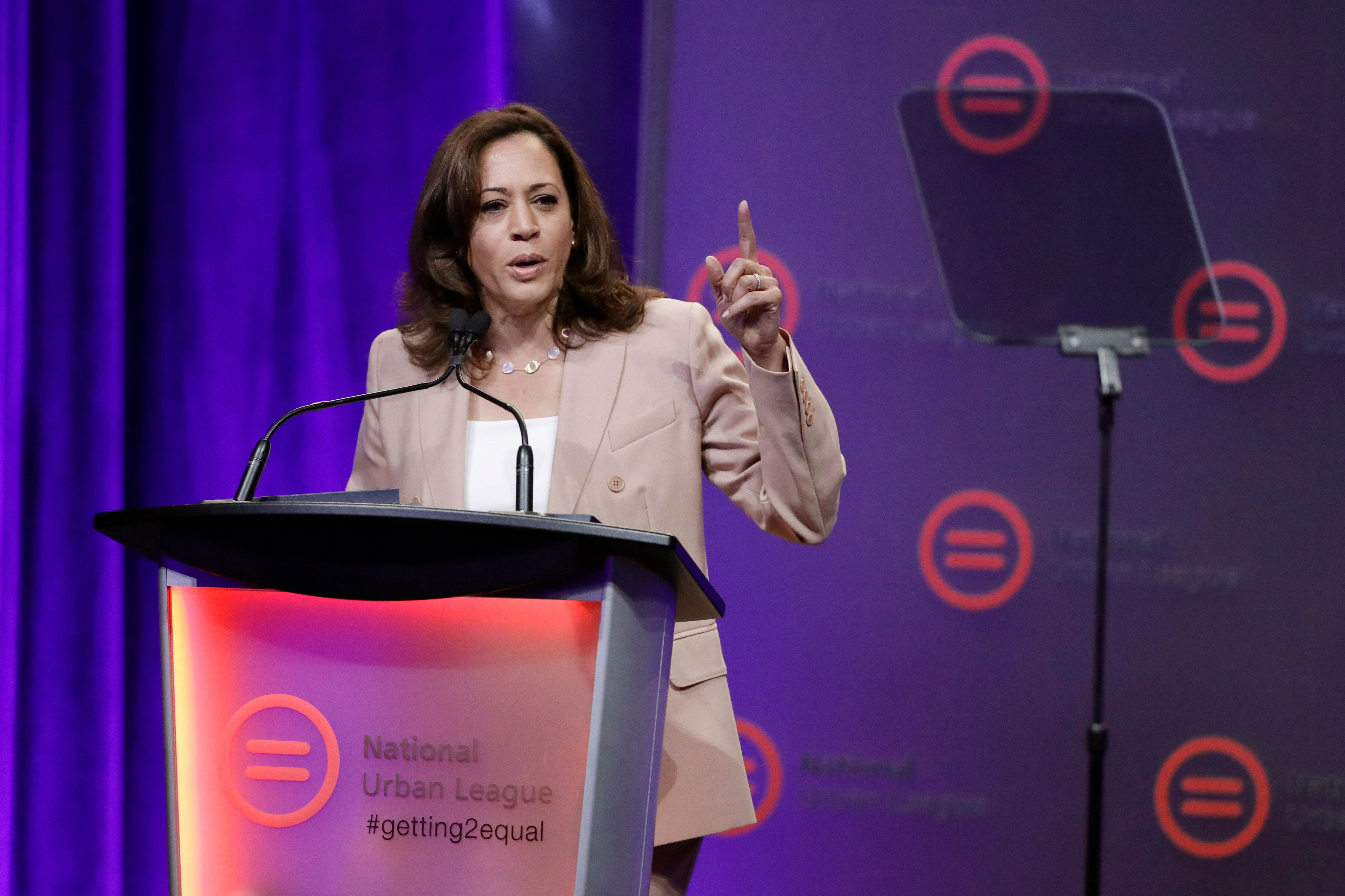 Democratic presidential candidate, Sen. Kamala Harris, D-Calif., speaks during the National Urban League Conference, Friday,