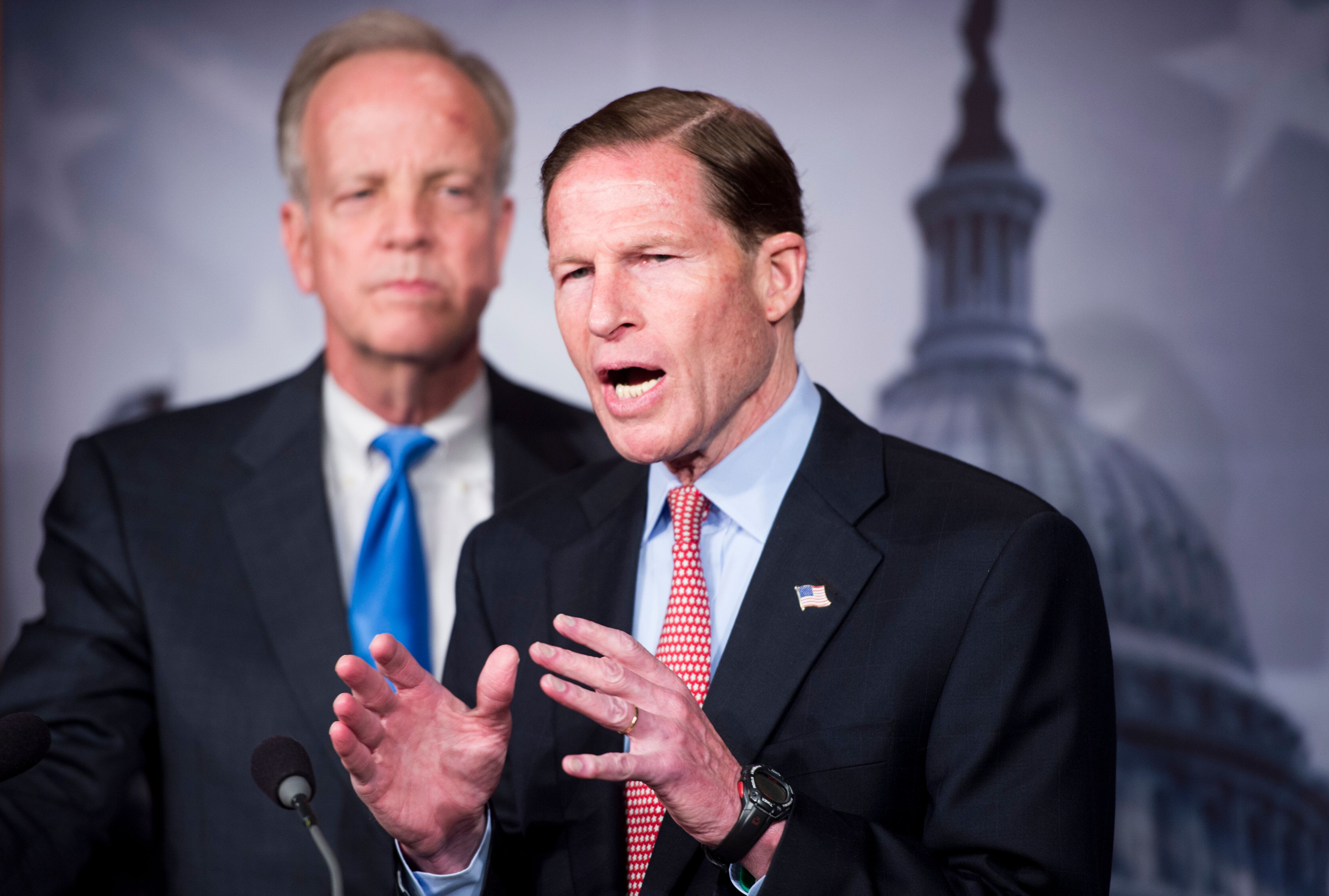 Sens. Jerry Moran (R-Kan.), left, and Richard Blumenthal (D-Conn.), right, have proposed a bill that aims to protect Olympic