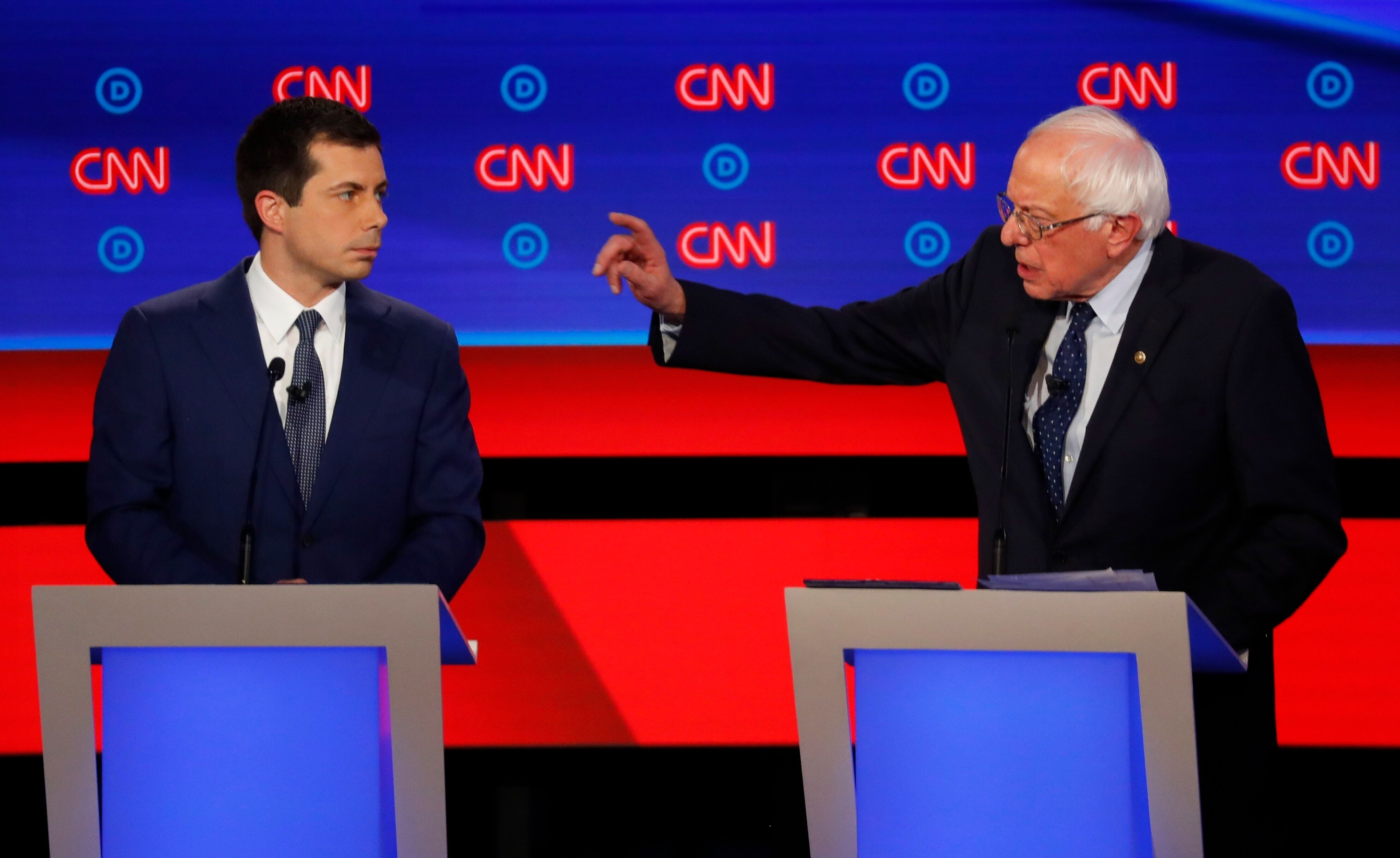 Buttigieg and Sen. Bernie Sanders participate in the first of two Democratic presidential primary debates hosted by CNN in th