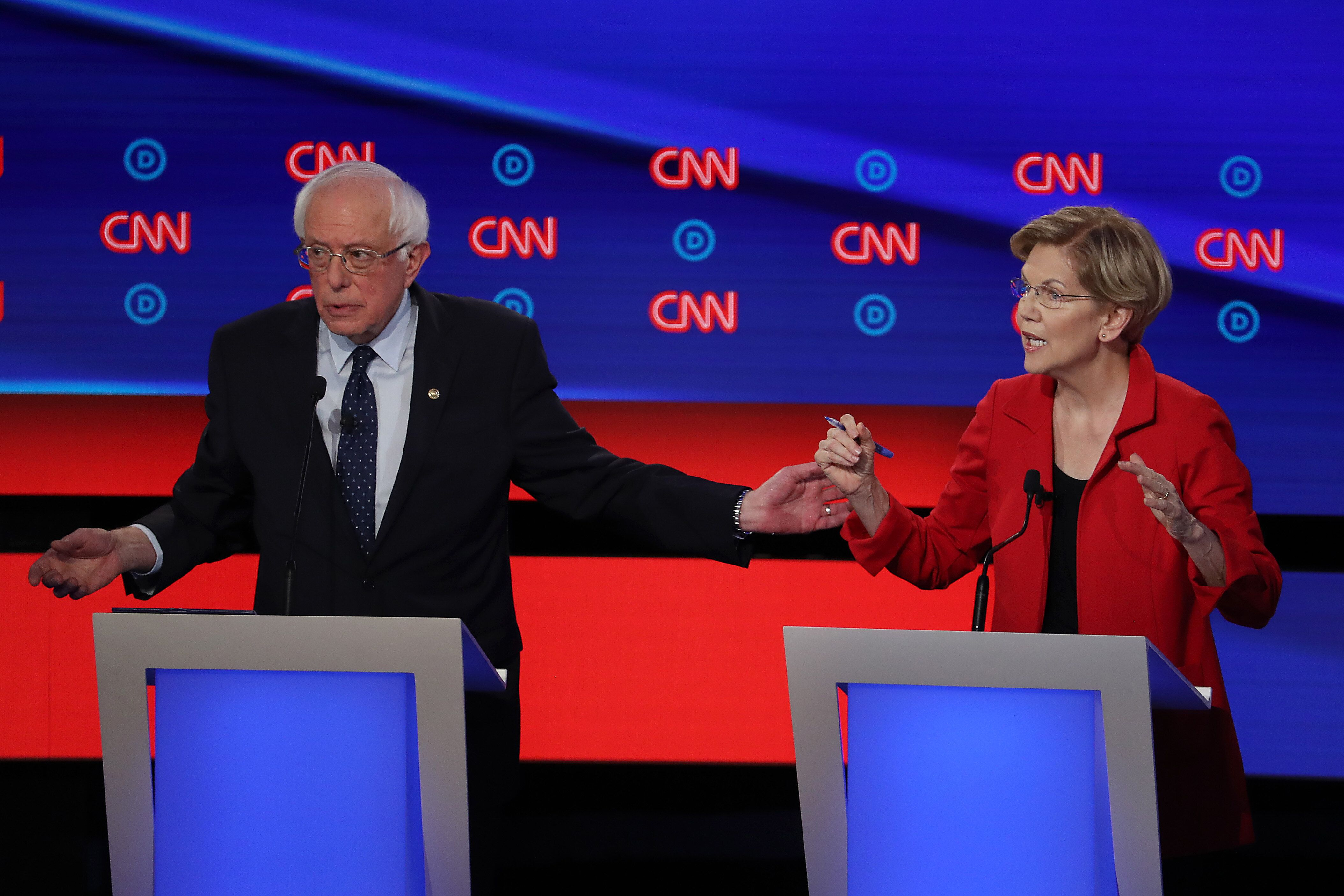 Sens. Bernie Sanders (I-Vt.) and Elizabeth Warren (D-Mass.) made similar arguments about health care during the Democratic pr