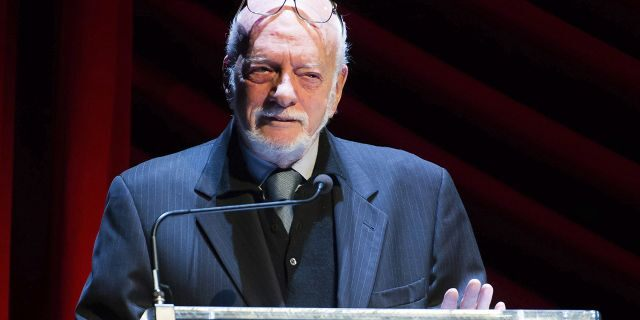 """In this Nov. 17, 2014 file photo, Harold """"Hal"""" Prince appears on stage at """"Everybody, Rise! A Celebration of Elaine Stritch"""" in New York. Prince, who pushed the boundaries of musical theater with such groundbreaking shows as """"The Phantom of the Oepra,"""" """"Cabaret,"""" """"Company"""" and """"Sweeney Todd"""" and won a staggering 21 Tony Awards, died Wednesday, July 31, 2019, after a brief illness in Reykjavik, Iceland. He was 91."""