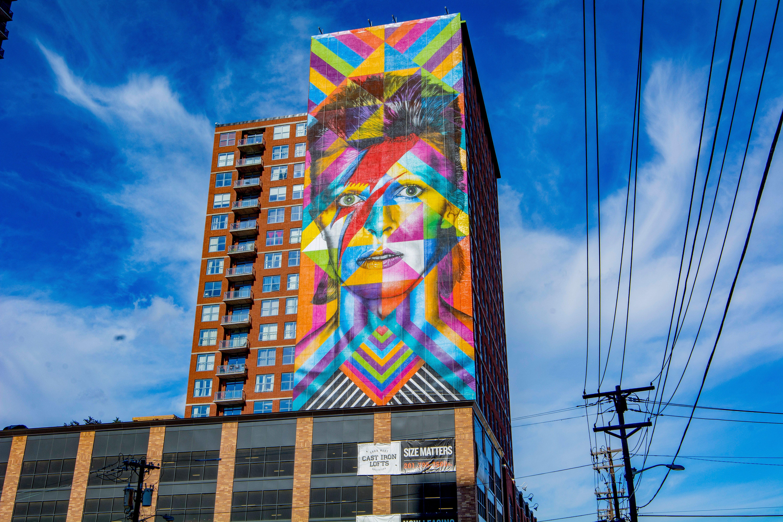 Brazilian artist Eduardo Kobra's depiction of the late British music icon David Bowie in Jersey City, New Jersey.