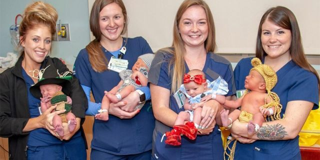 "Newborns were dressed as characters from ""The Wizard of Oz"" at West Penn Hospital in Pittsburgh. (Photo courtesy of Allegheny Health Network)"