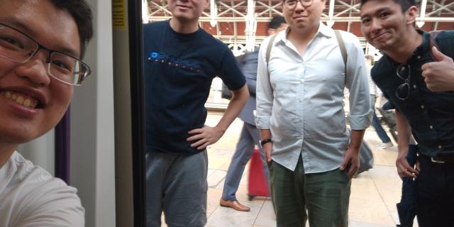 This photo provided by Wilson Li shows Simon Cheng Man-kit, second from left, a resident of Hong Kong. (Wilson Li via AP)