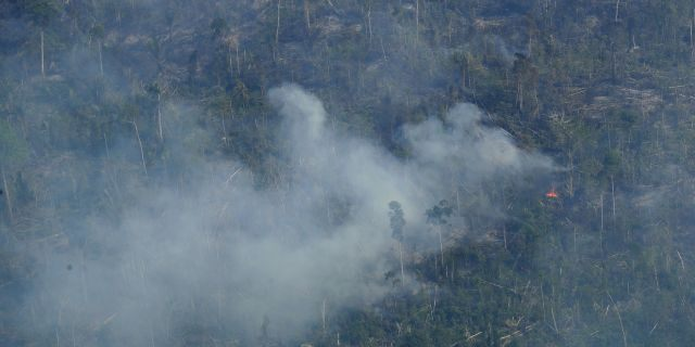 Fire consumes an area near Jaci Parana, state of Rondonia, Brazil, Saturday, Aug. 24, 2019. Brazil says military aircraft and 44,000 troops will be available to fight fires sweeping through parts of the Amazon region. (AP Photo/Eraldo Peres)