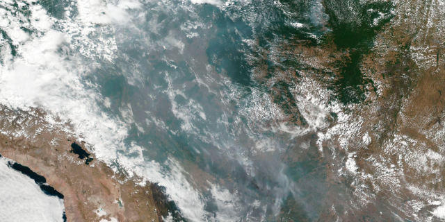 This satellite image provided by NASA shows the fires in Brazil on Aug. 20, 2019. As fires raged in the Amazon rainforest, the Brazilian government on Thursday denounced international critics who say President Jair Bolsonaro is not doing. (NASA via AP)