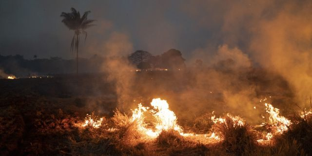 A fire burns a field on a farm in the Nova Santa Helena municipality, in the state of Mato Grosso, Brazil on Friday. Under increasing international pressure to contain fires sweeping parts of the Amazon, Brazilian President Jair Bolsonaro on Friday authorized use of the military to battle the massive blazes. (AP Photo/Leo Correa)