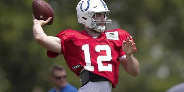 Indianapolis Colts quarterback Andrew Luck (12) throws during practice at the NFL team's football training camp in Westfield, Ind., Sunday, July 28, 2019. (Associated Press)