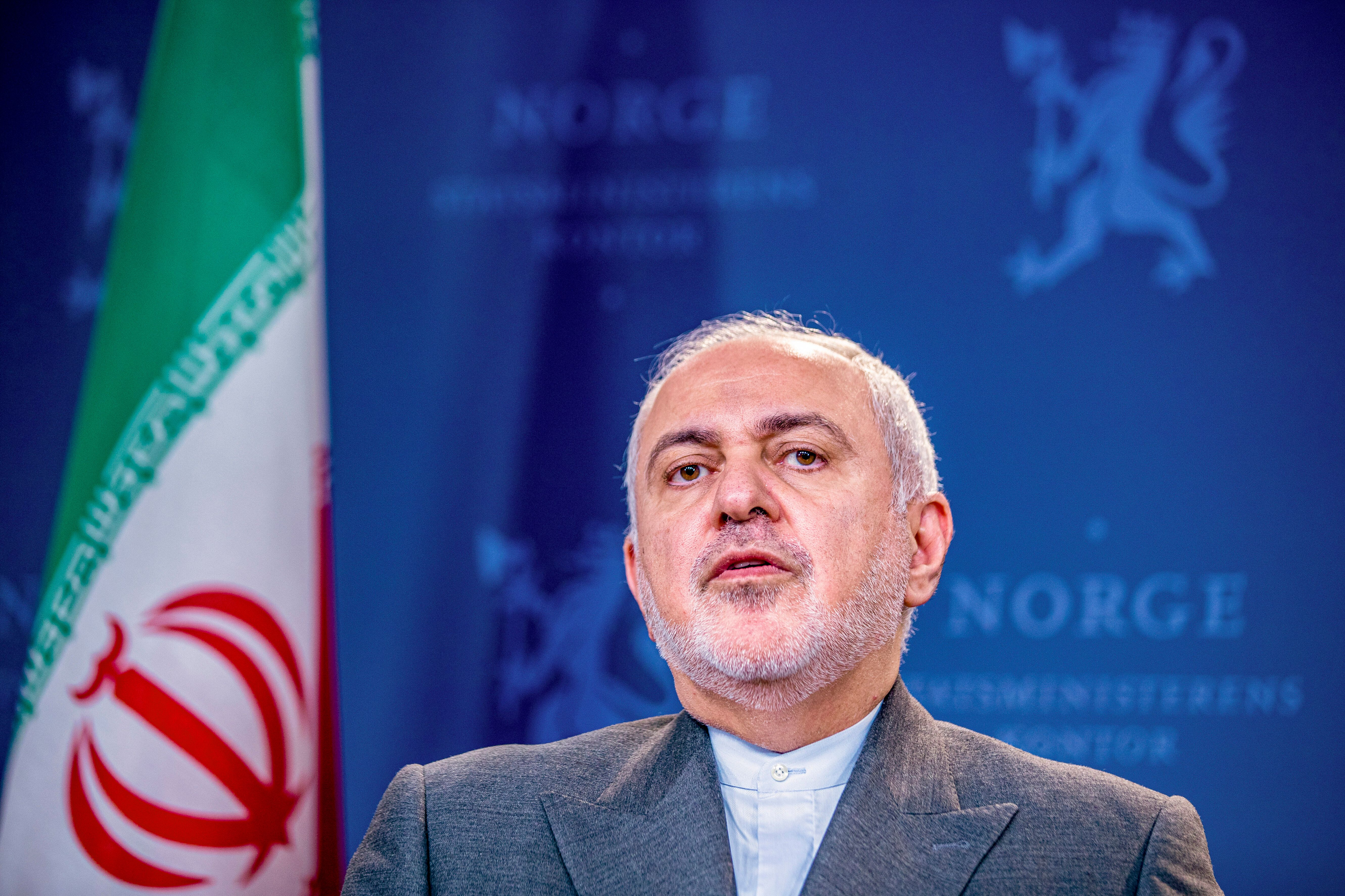 Iran's Foreign Minister Mohammad Javad Zarif attends a joint press conference after talks with Norway's Foreign Minister Ine