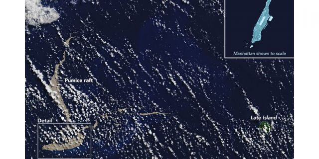 """A massive pumice """"raft"""" the size of Manhattan has been floating across the Pacific Ocean toward Australia."""