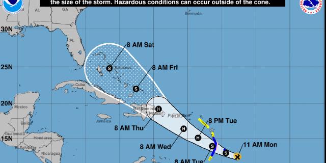 The forecast track of Tropical Storm Dorian.