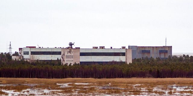 Buildings at a military base in the town of Nyonoska, Russia, the site of an accident during a test of a nuclear-powered engine where at least seven people were killed.
