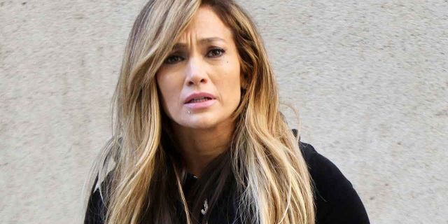 """Jennifer Lopez is seen on the set of the """"Hustlers"""" on April 01, 2019 in New York City. Lopez plays a stripper in the film alongside co-stars Constance Wu, Cardi B, Lizzo, Lili Reinhart and Keke Palmer."""