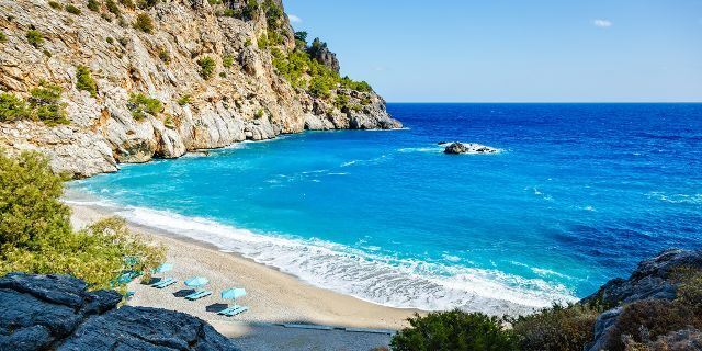 Two divers were found dead in an underwater cave off the coast of Greek island Karpathos, pictured here.
