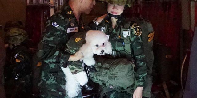 This undated photo posted Monday, Aug. 26, 2019, on the Thailand Royal Office website shows King Maha Vajiralongkorn, left, with Major General Sineenatra Wongvajirabhakdi, the royal noble consort.