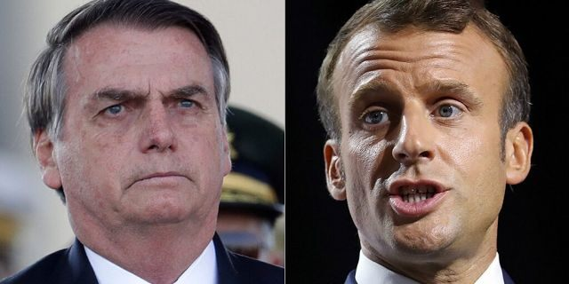 Brazilian President Jair Bolsonaro says he'll think about accepting offers of international aid to fight raging fires in the Amazon region if French President Emmanuel Macron apologizes to him.