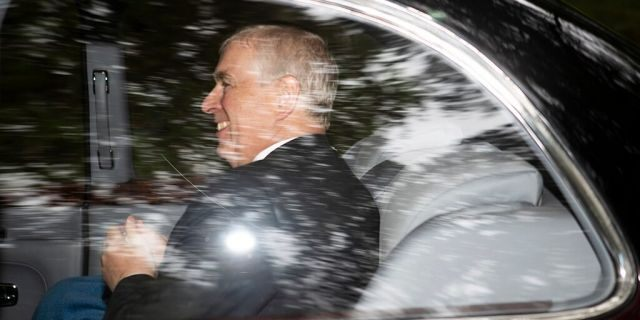 Britain's Prince Andrew, the Duke of York leaves Crathie Kirk, after a Sunday morning church service, in Crathie, Scotland, Sunday, Aug. 11, 2019. (Jane Barlow/PA via AP)
