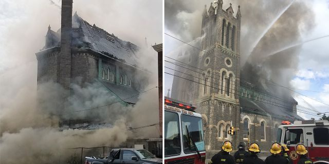 "Firefighters using ""heavy caliber water streams"" in an attempt to put out a massive fire at the Greater Bible Way Temple on Tuesday."