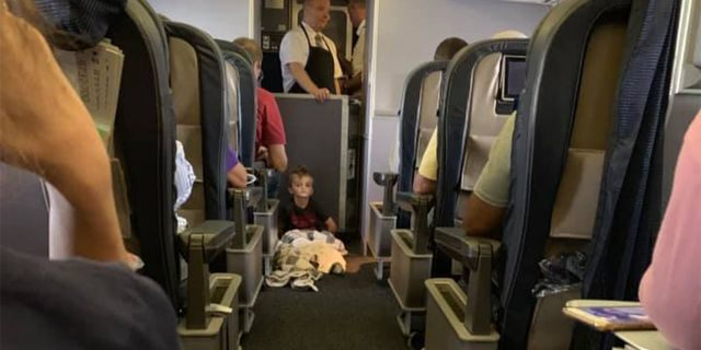 Lori Gabriel said she was on a flight with her son Braysen, who would not sit in his seat.