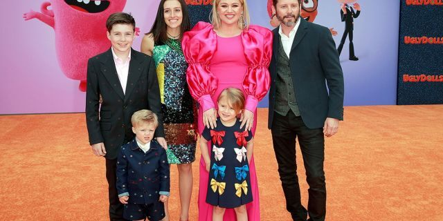"From l-r: Seth Blackstock, Remington Alexander Blackstock, Savannah Blackstock, Kelly Clarkson, River Rose Blackstock, and Brandon Blackstock attend STX Films World Premiere of ""UglyDolls"" at Regal Cinemas L.A. Live on April 27, 2019 in Los Angeles."