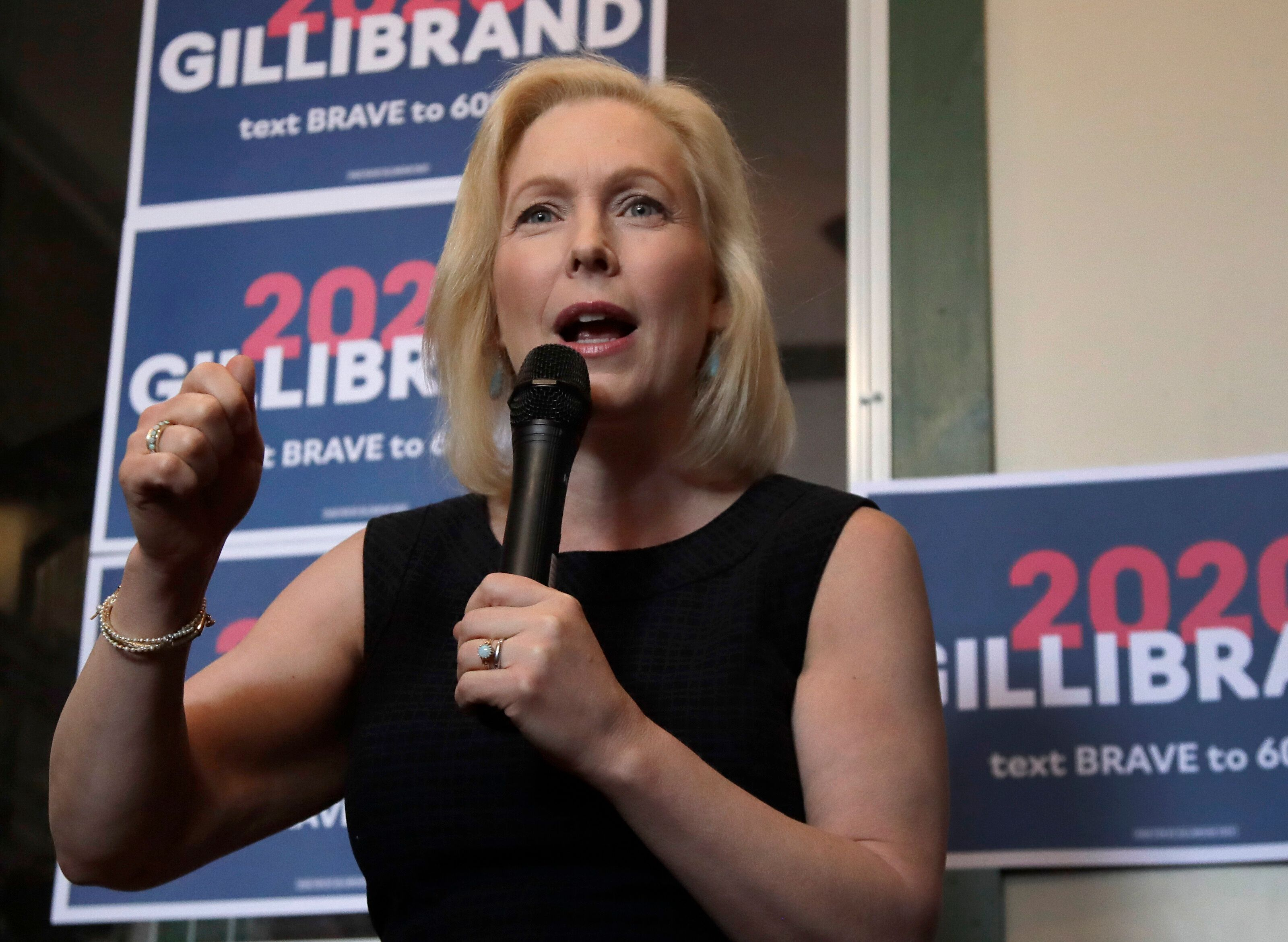 Democratic presidential candidate Kirsten Gillibrand, a senator from New York, speaks at a campaign event on June 14 in Frank