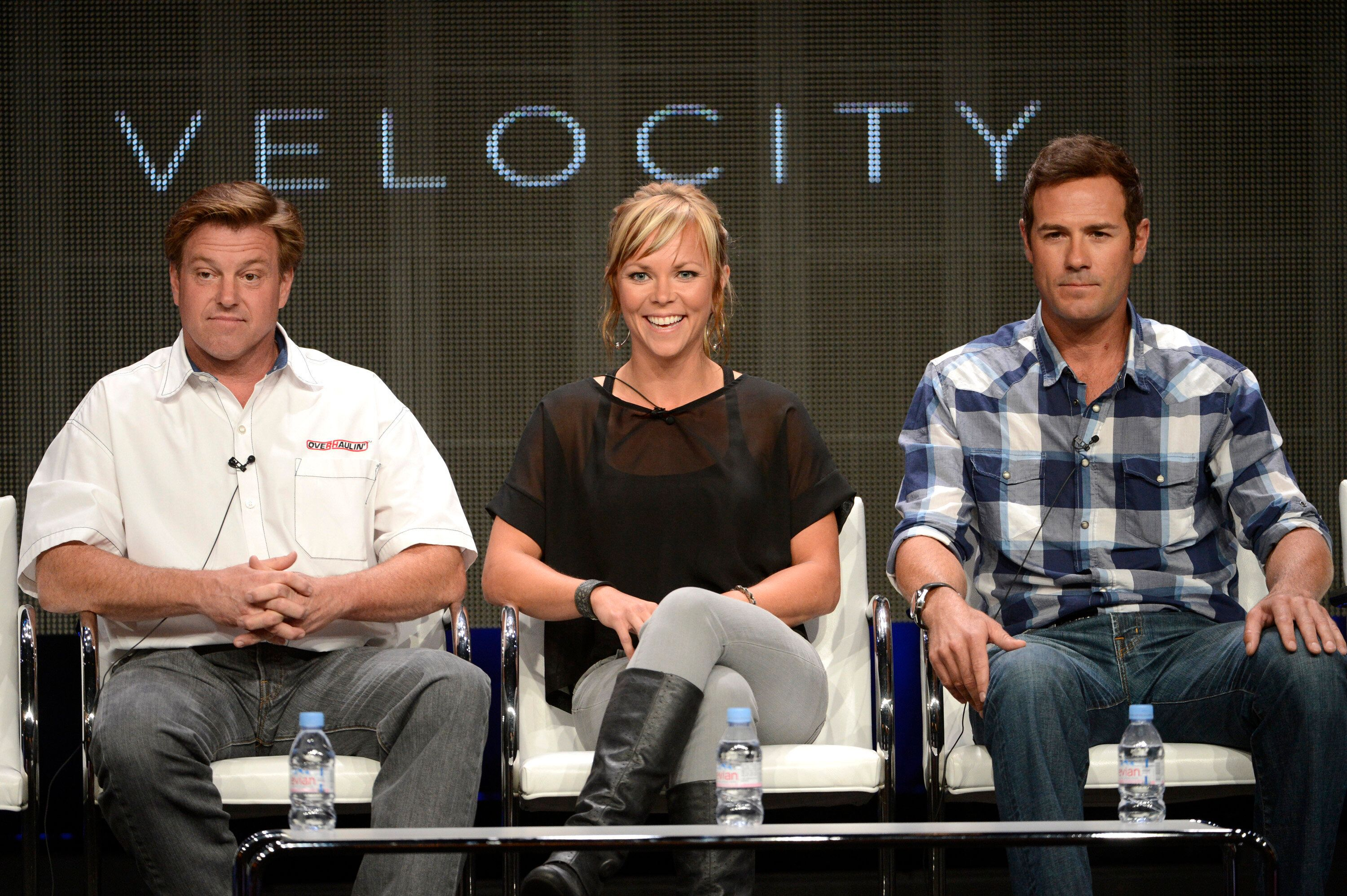 """Host Chip Foose (left) Jessi Combs and Chris Jacobs participate in a panel on the cable TV program """"Overhaulin'"""" during the T"""