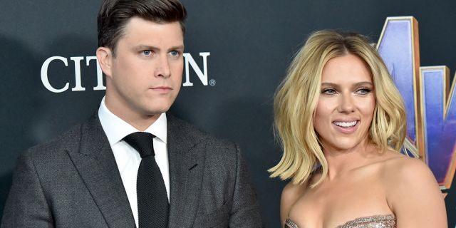 "Colin Jost (L) and Scarlett Johansson attend the premiere of ""Avengers: Endgame"" in April."