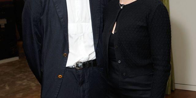 Romain Dauriac (L) and Scarlett Johansson in April 2017.
