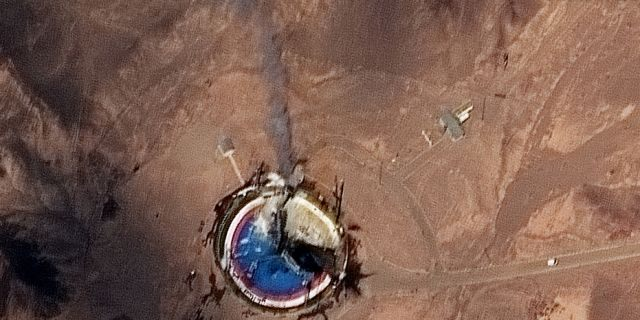 A closer view of the launch pad following the launch that apparently failed.