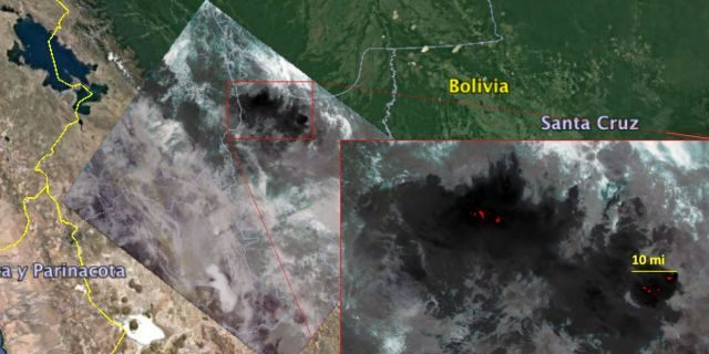 NASA's ECOSTRESS captured a snapshot of fires burning in the Bolivian Amazon on Aug. 23, 2019.