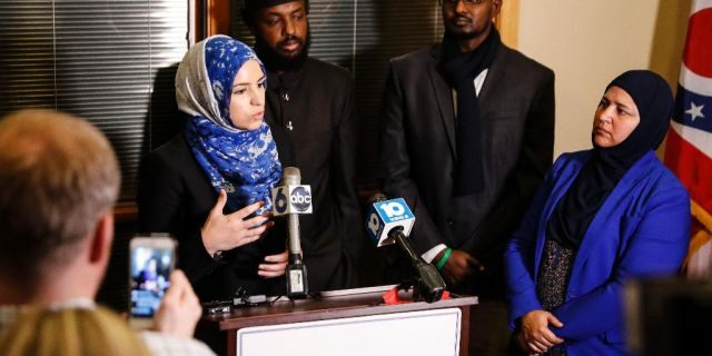 Roula Allouch, the board chairwoman of the Council on American-Islamic Relations, left, seen speaking in 2016.