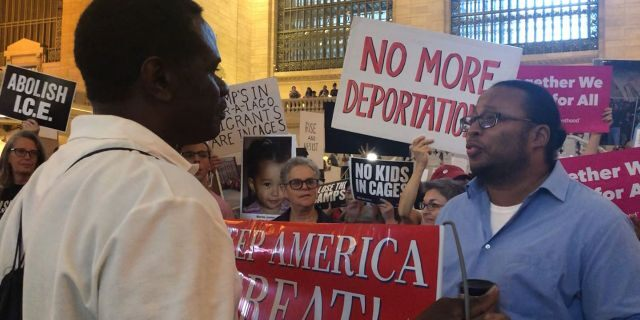 Demonstrators from both sides of the nation's debate on the U.S.-Mexico border crisis face off Thursday at Grand Central Terminal in New York City. (Danielle Wallace/Fox News)
