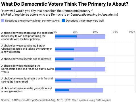 In a new HuffPost/YouGov poll, fewer than a third of Democratic and Democratic-leaning voters described any of these choices