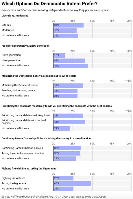 """In this poll, Democratic and Democratic-leaning voters favor a """"new generation"""" over an older one -- a finding that's not nec"""