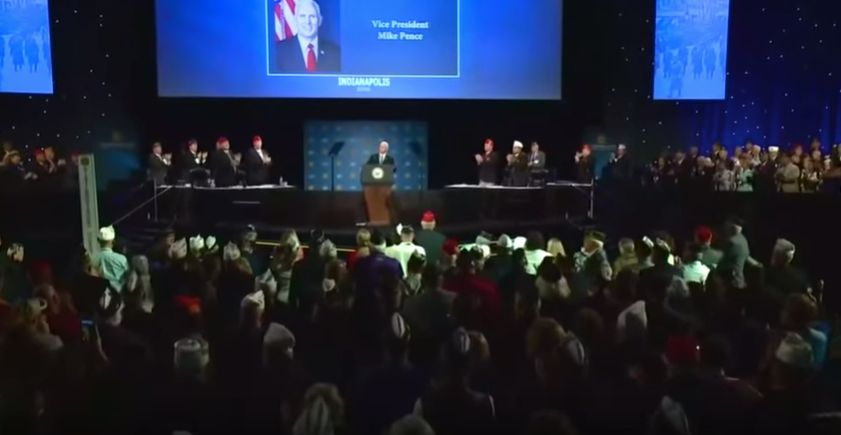 """Vice President Mike Pence got a standing ovation at an American Legion convention in Indianapolis after proclaiming, """"The Bib"""