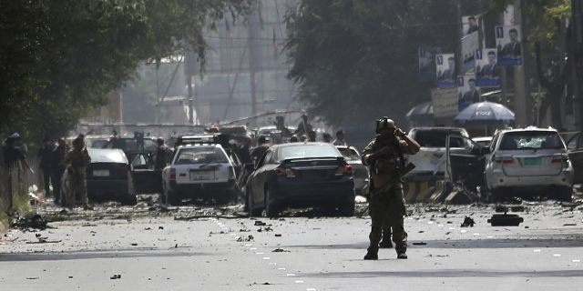 Afghan security personnel arrive at the site of car bomb explosion in Kabul, Afghanistan, Thursday, Sept. 5, 2019. A car bomb rocked the Afghan capital on Thursday and smoke rose from a part of eastern Kabul near a neighborhood housing the U.S. Embassy, the NATO Resolute Support mission and other diplomatic missions. (AP Photo/Rahmat Gul)