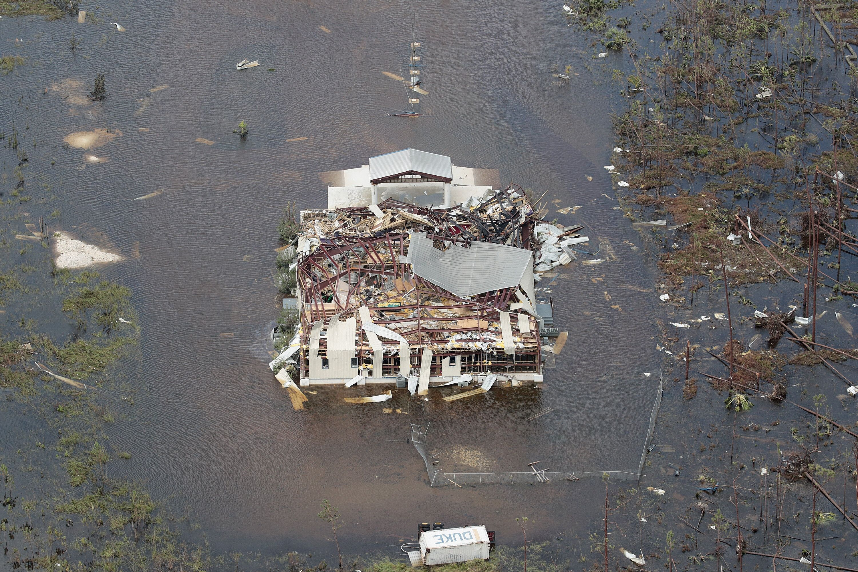 An aerial view of damage caused by Hurricane Dorian is seen on Great Abaco Island on September 4, 2019 in Great Abaco, Bahama