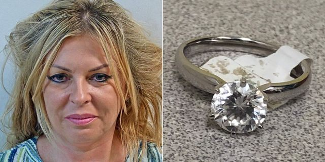 Izaebela Kolano, left, and the $28,000 ring from Costco she is alleged to have stolen.