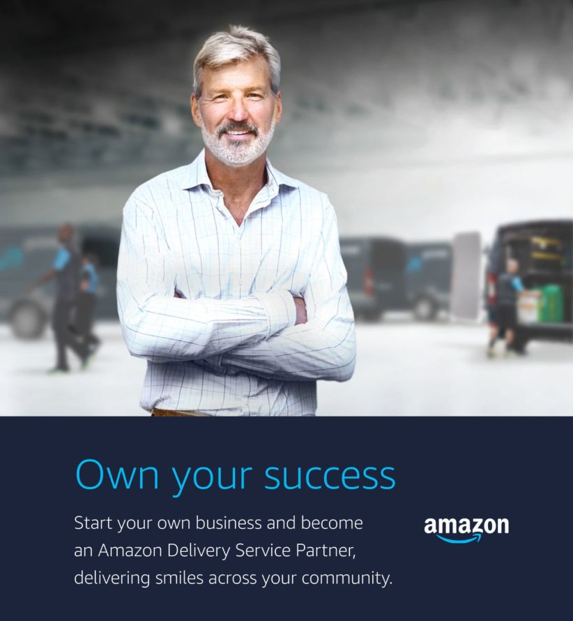 The cover of an Amazon brochure enticing aspiring entrepreneurs to launch their own delivery contracting businesses.