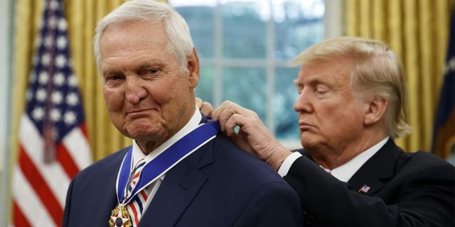 Former NBA basketball player and general manager Jerry West received the Presidential Medal of Freedom in the Oval Office on Thursday. (AP Photo/Alex Brandon)