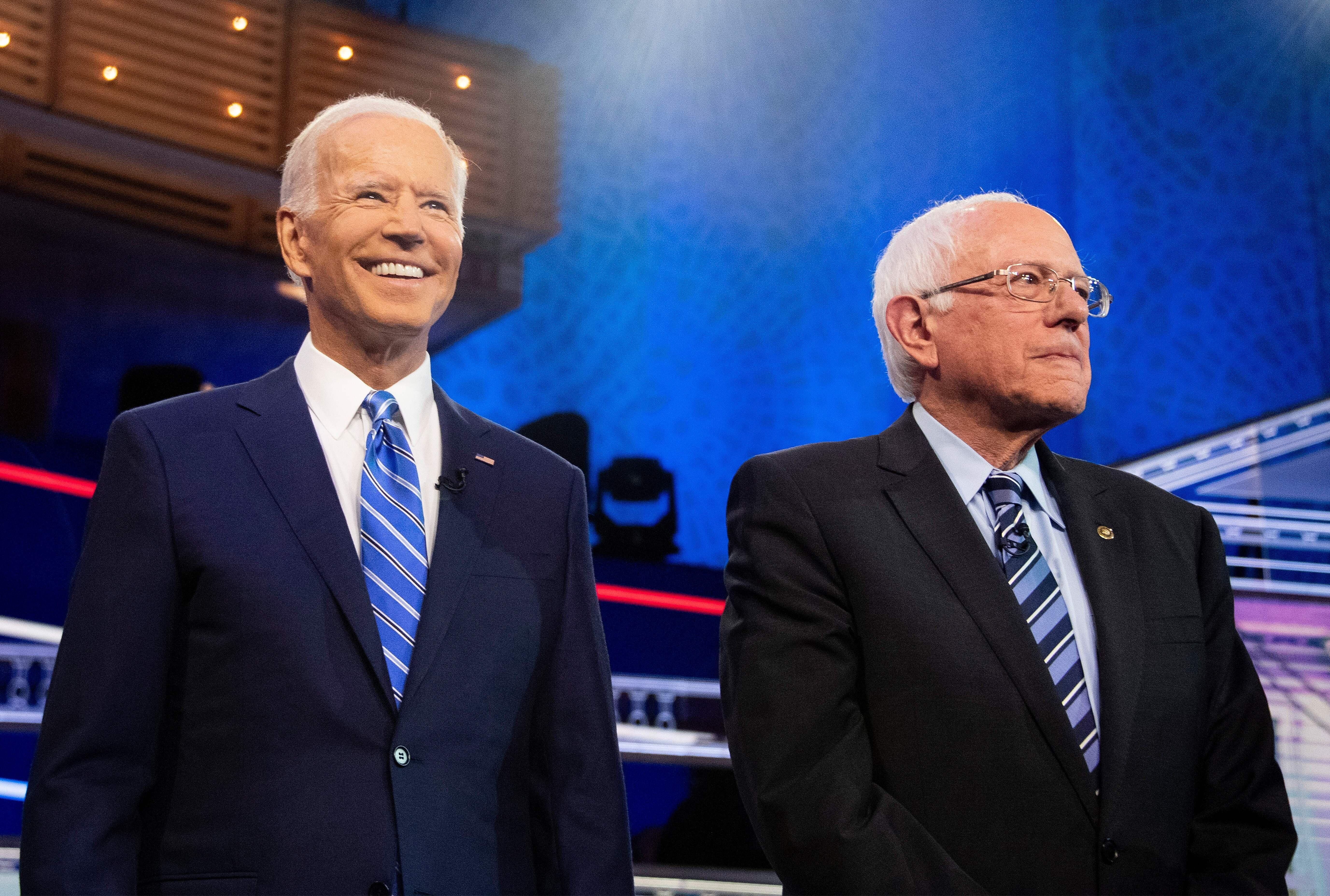 Sen. Bernie Sanders (I-Vt.), right, sees older, working-class voters backing former Vice President Joe Biden, left, as ripe f