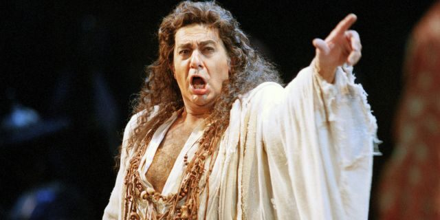 """In this Nov. 5, 1994 file photo, Placido Domingo performs in the San Francisco Opera's production of """"Herodiade"""" in San Francisco. On Tuesday, Aug. 13, 2019, the San Francisco Opera said it is canceling an October concert featuring Domingo after the publication of an Associated Press story that quoted numerous women as saying they were sexually harassed or subjected to inappropriate behavior by the superstar."""