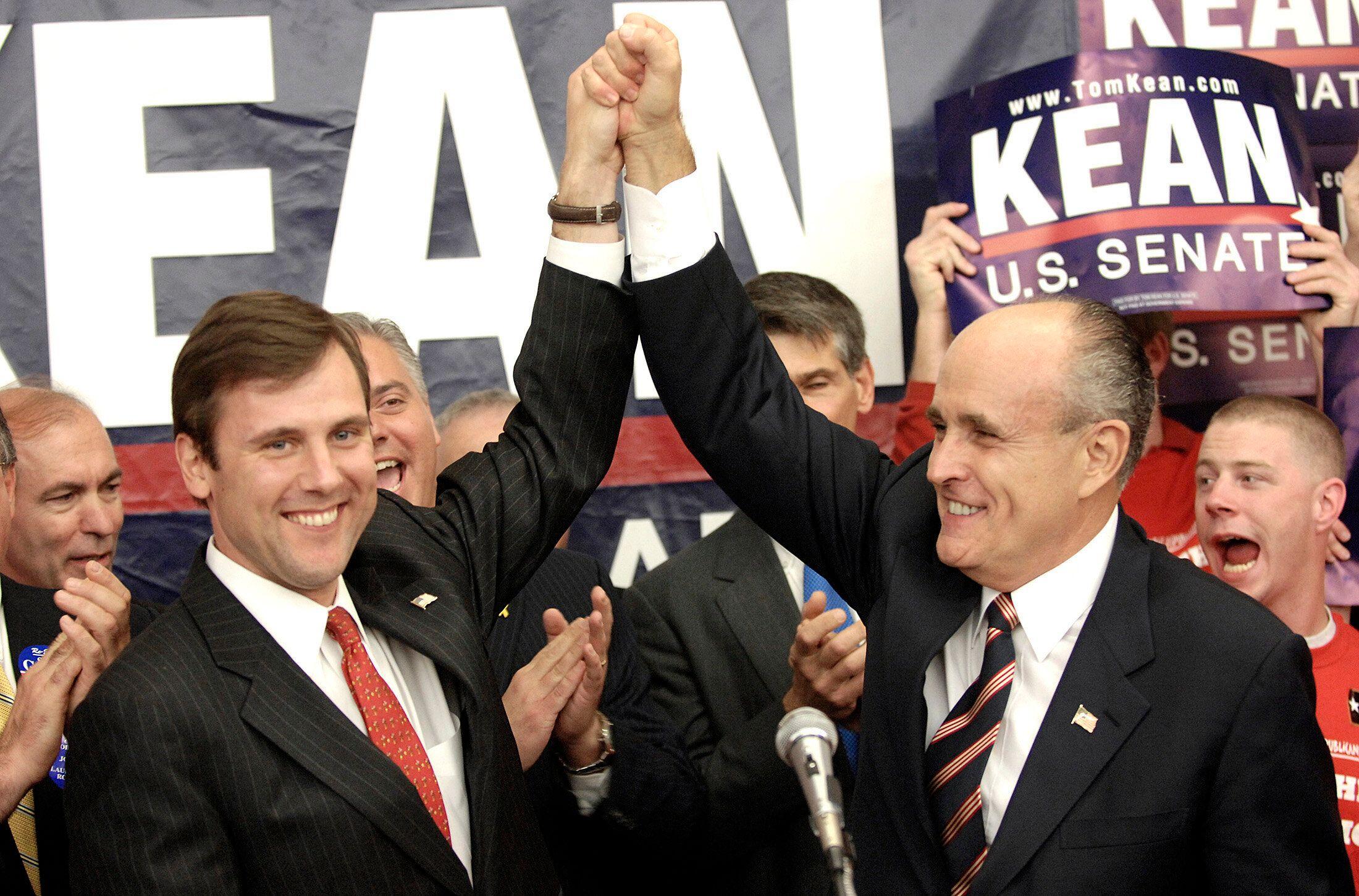 Tom Kean Jr. campaigns with former New York City Mayor Rudy Giuliani during Kean's losing bid for the U.S. Senate in 2006.