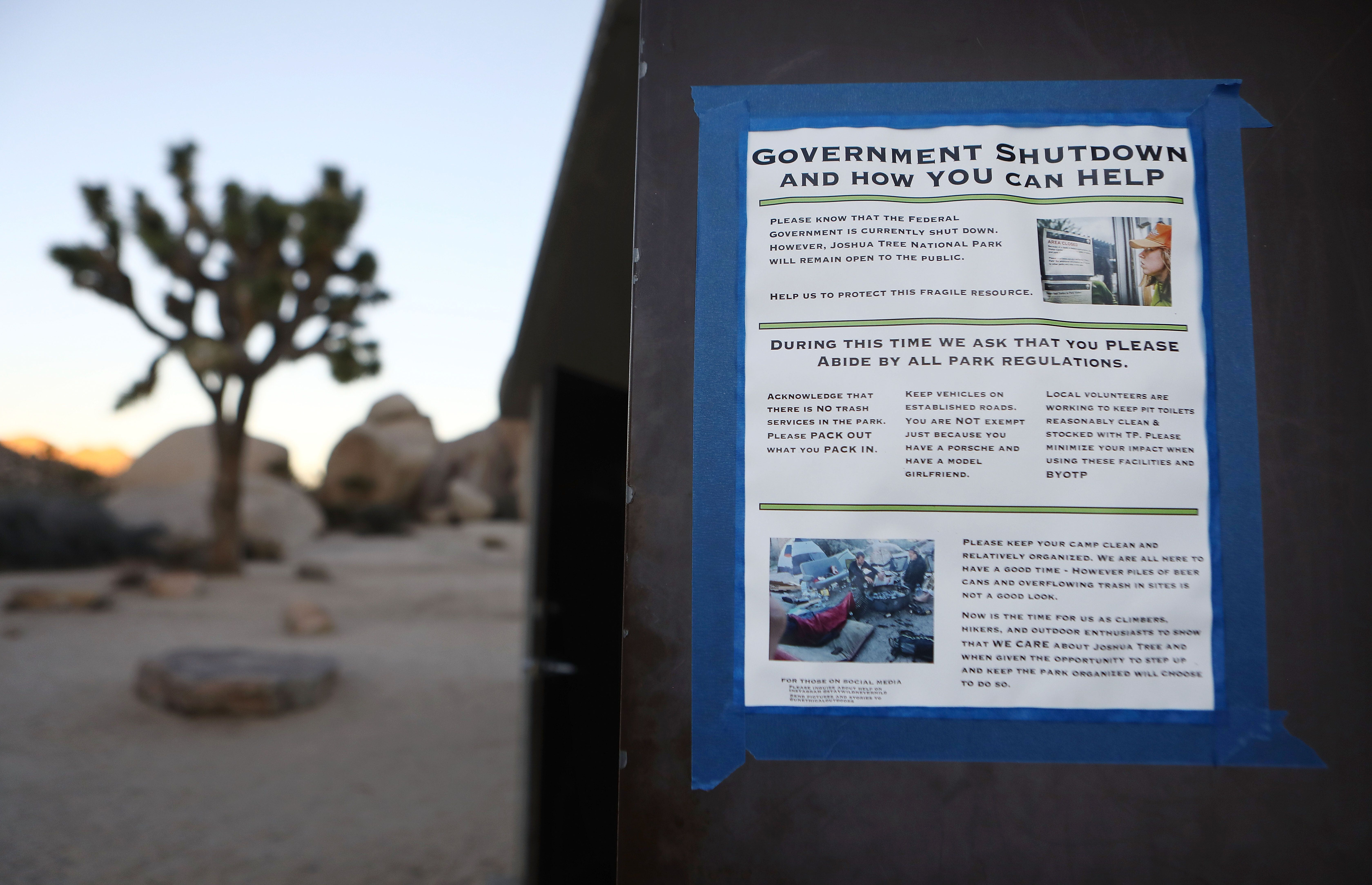 A sign at Joshua Tree National Park on Jan. 4, 2019, in Joshua Tree National Park, California during the government shutdown.