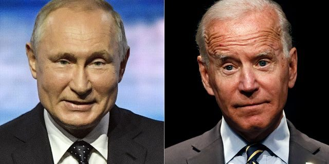 """Democratic presidential candidate Joe Biden (right) claims he once told Russian President VladimirPutin (left) he has no """"soul."""" (Associated Press)."""