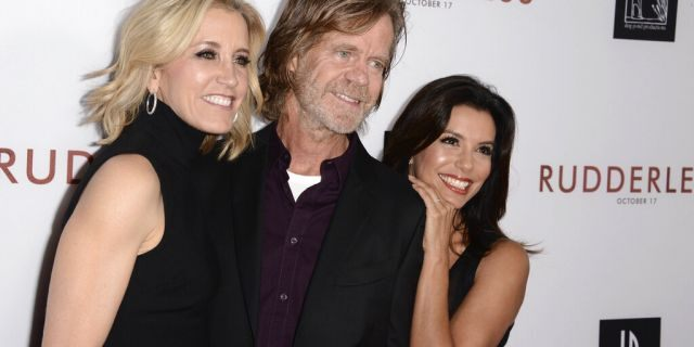 """In this Tuesday, Oct. 7, 2014 file photo, Felicity Huffman, from left, writer/director William H. Macy and Eva Longoria arrive at the Los Angeles VIP screening of """"Rudderless"""" at The Vista Theater. (Photo by Dan Steinberg/Invision/AP, File)"""