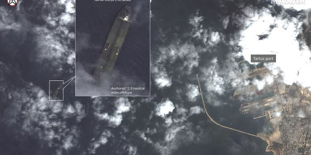This satellite image provided by Maxar Technologies appears to show the Iranian oil tanker Adrian Darya-1 off the coast of Tartus, Syria, Sept. 6, 2019.<br> (Maxar Technologies via AP)