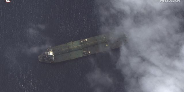 This satellite image provided by Maxar Technologies appears to show the Iranian oil tanker Adrian Darya-1 off the coast of Tartus, Syria, Sept. 6, 2019. (Maxar Technologies via AP)