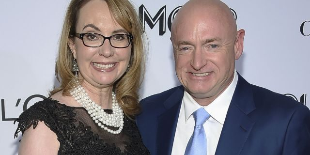In this Nov. 12, 2018, photo politician and gun control advocate Gabrielle Giffords and husband, retired astronaut Mark Kelly, attend the Glamour Women of the Year Awards at Spring Studios in New York.